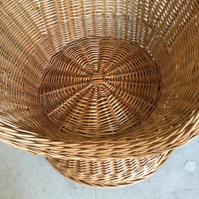 Metal 70s Wicker Lounge Chair For Sale - Image 7 of 10
