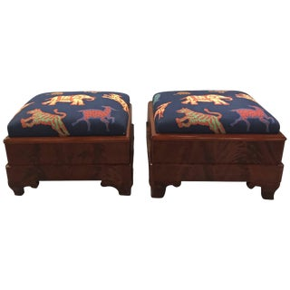 19th Century American Classical Flame Mahogany Benches - a Pair