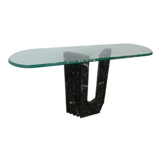 Postmodern Black Marble Console Table With Glass Top For Sale