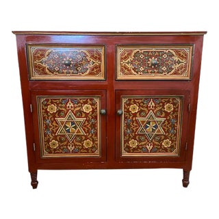 1970s Vintage Moroccan Hand Painted Chest For Sale