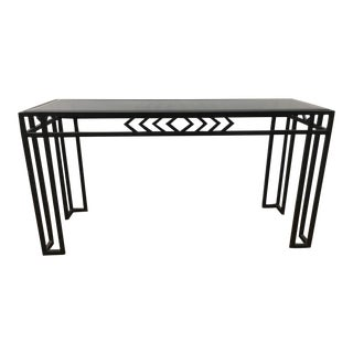 Contemporary Modernist Glass Top Metal Console Table