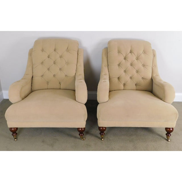 Regency Sherrill English Regency Style Tufted Pair Lounge Chairs For Sale - Image 3 of 12