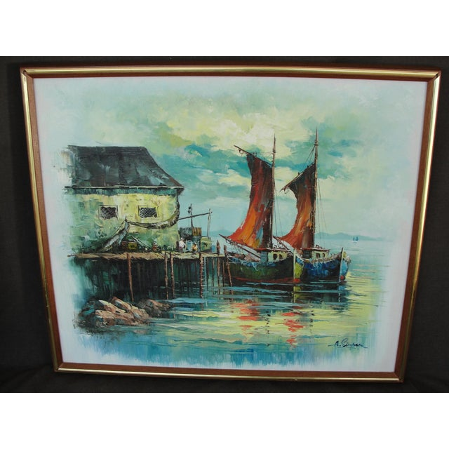 This is a beautiful oil painting on canvas of a harbor scene with 2 fishing boats. The piece is done in an impressionist...