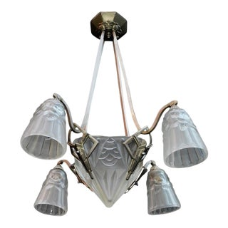 French Art Deco Chandelier Signed Degue For Sale