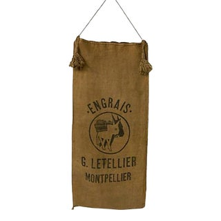 Vintage French Grain Sack French Farmhouse Decor Jute Hemp Grain Sack For Sale