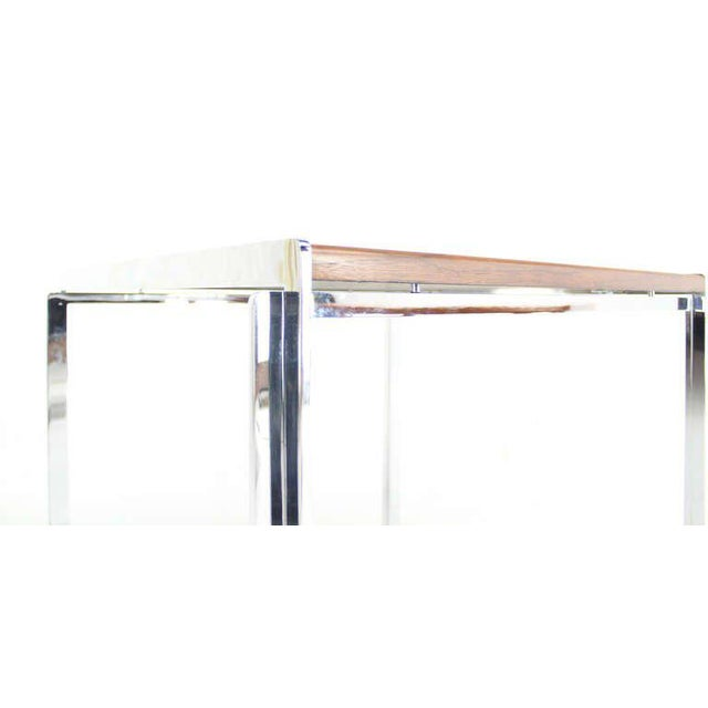 Brown Mid-Century Modern Stow Davis Walnut and Chrome Coffee Table For Sale - Image 8 of 11