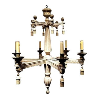 Neoclassical Style Chandelier Hand Carved in Wood For Sale