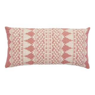 Schumacher Wentworth Embroidery Lumbar Pillow in Rose For Sale