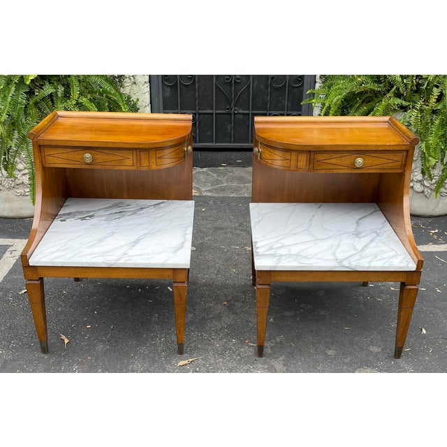 """Grosfeld House Hollywood Regency Mid Century Modern Empire Walnut & Marble End Tables. The marble height is 15.5""""."""