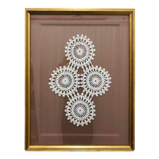 Vintage Hand Crafted Crochet in Gilded Frame For Sale