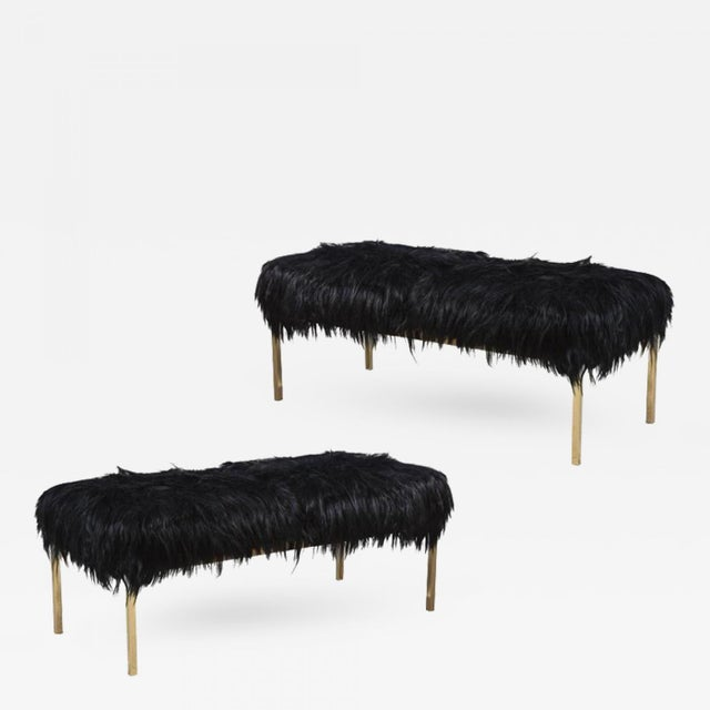 Animal Skin 1960s Arthur Elrod Polished Brass and Goat Fur Benches - a Pair For Sale - Image 7 of 7