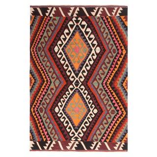 Vintage Mid-Century Geometric Multicolor Wool Kilim Rug For Sale