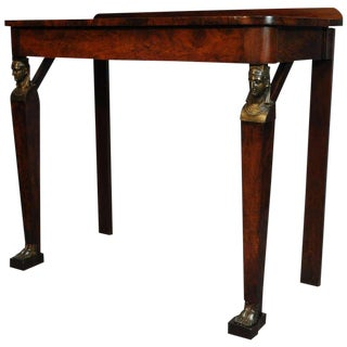 19th Century French Empire Figural Flame Mahogany One Drawer Console Table For Sale