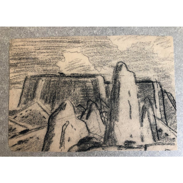 1930s Vintage Eliot Clark Monument Valley, Colorado Plein Air Drawing For Sale - Image 6 of 6