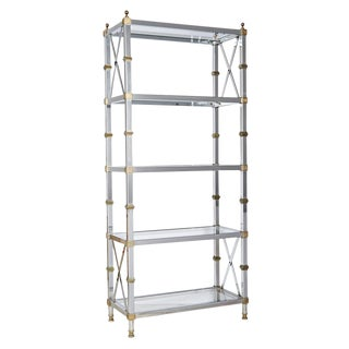 Tall Polished Brass and Nickel Plated Etagere Circa 1920s