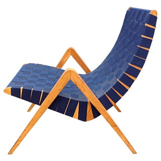 1940s Mid-Century Modern Jens Risom Style Navy Blue Webbed Scoop Birch Lounge Chair Preview