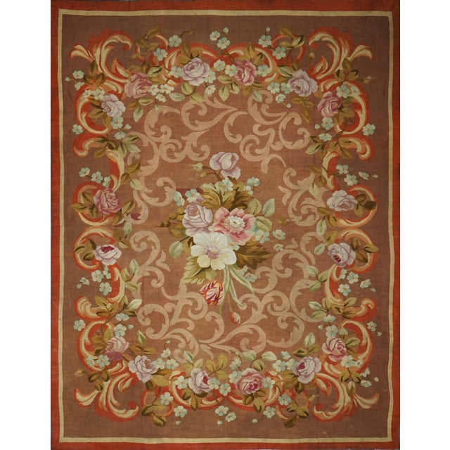 French Restoration Period Handwoven Antique Aubusson Rug, Circa 1830 For Sale - Image 4 of 4