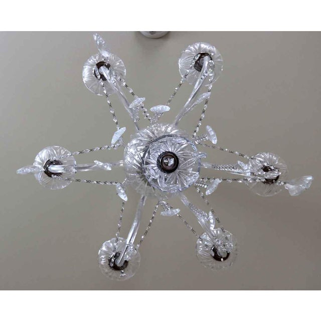 Salvaged Waldorf Six Glass Arms Crystal Chandelier For Sale - Image 6 of 7