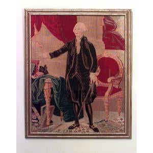 American Country (19/20th Cent) gold framed needlepoint tapestry of full length portrait of George Washington