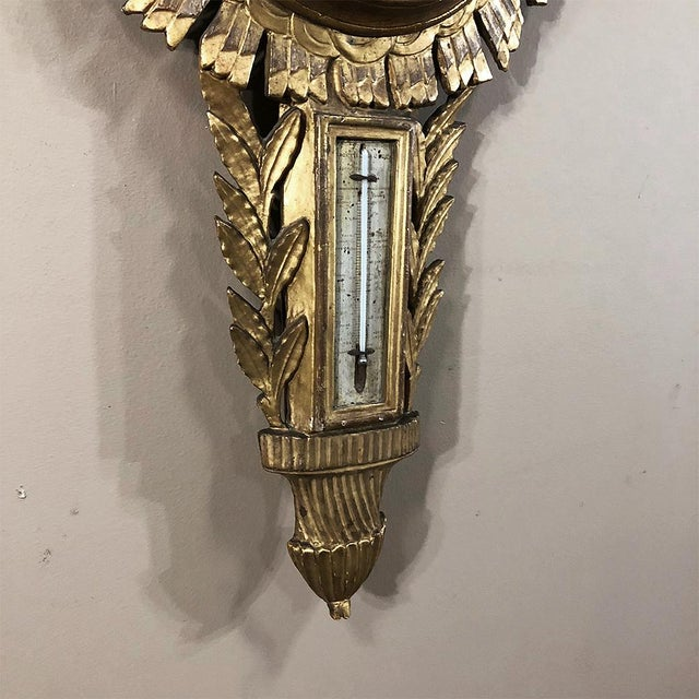 18th Century French Louis XVI Giltwood Barometer ~ Thermometer For Sale - Image 9 of 13