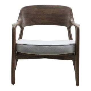 Vesta Silas Lounge Chair in Grey and Walnut For Sale