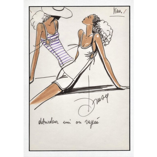 Rare Original 1980's French Fashion Drawing-Summer Beach Cruise Wear For Sale In New York - Image 6 of 6