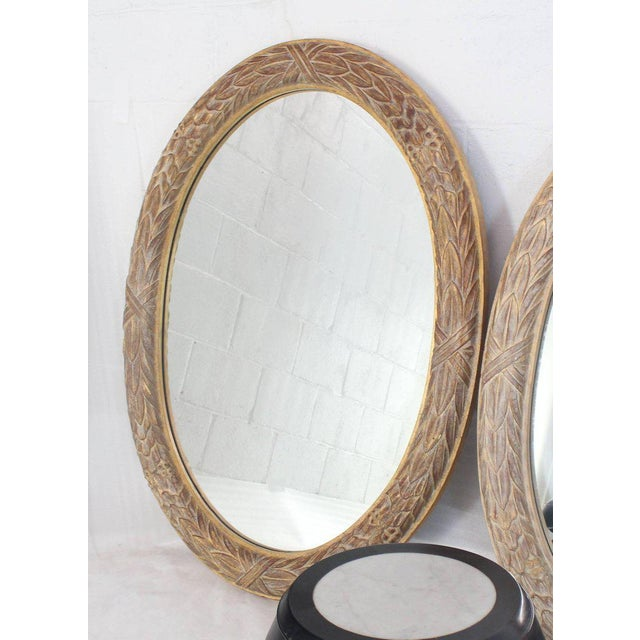 Pair of Medium Large Oval Gold Gild Leaf Pattern Frame Mirrors For Sale - Image 4 of 6
