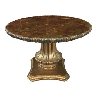 1960s Hollywood Regency Gilt GlassTop Gilt Decorated Side Table For Sale