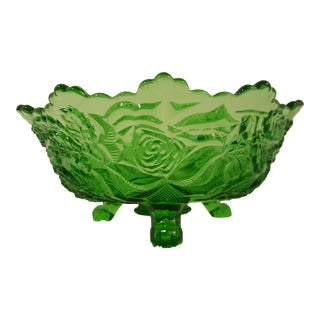 Emerald Rose Motif Tri Footed Bowl