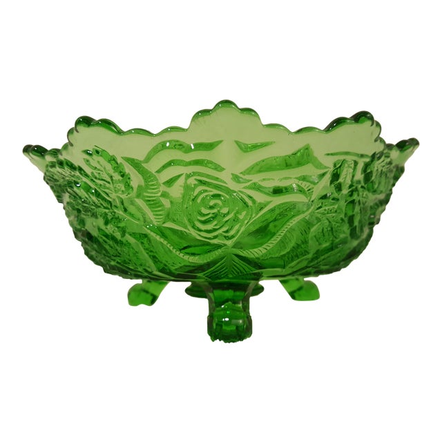 Emerald Rose Motif Tri Footed Bowl For Sale