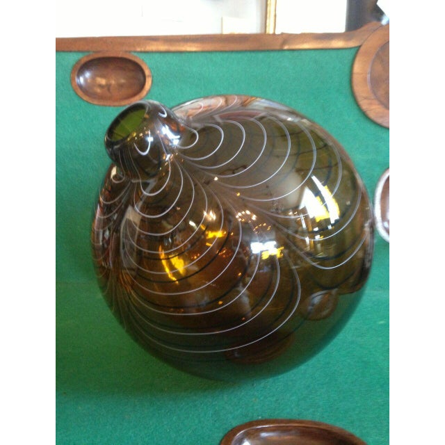 2004 Large Italian Alberto Dona Murano Hand Blown Swirled Art Glass Bottle Vase For Sale - Image 13 of 13