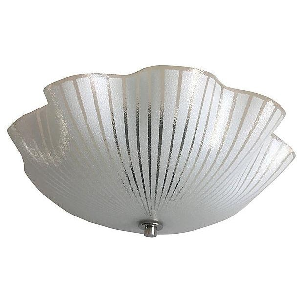 Airy 1950s ruffled glass semi-flush mount light featuring reverse-painted white stripes on a textured glass shade with two...