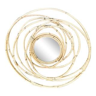 1970s Vintage Circular Rattan Mirror For Sale