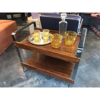1950s Mid-Century Modern Merrow Associates Chrome Rosewood + Leather Bar Cart Trolley Preview