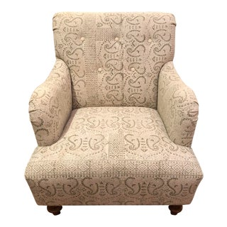 Modern Shabby Chic Mixed Fabric Tufted Accent Chair For Sale