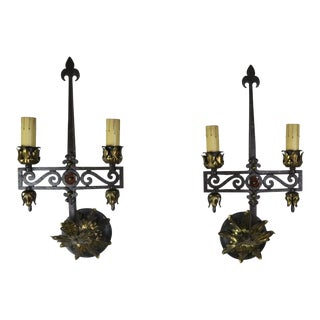 Spanish Gothic Style 2-Light Sconces, Pair For Sale