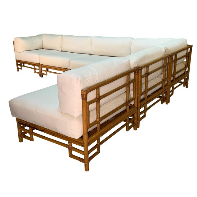Ficks Reed Rattan Chinoiserie Sectional Sofa For Sale