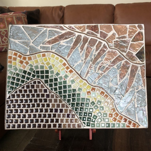 Copper 1960s Vintage Tile Glass and Copper Encased Mosaic Wall Hanging For Sale - Image 7 of 12