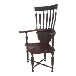 20th Century Early American High Back Wooden Corner Chair For Sale