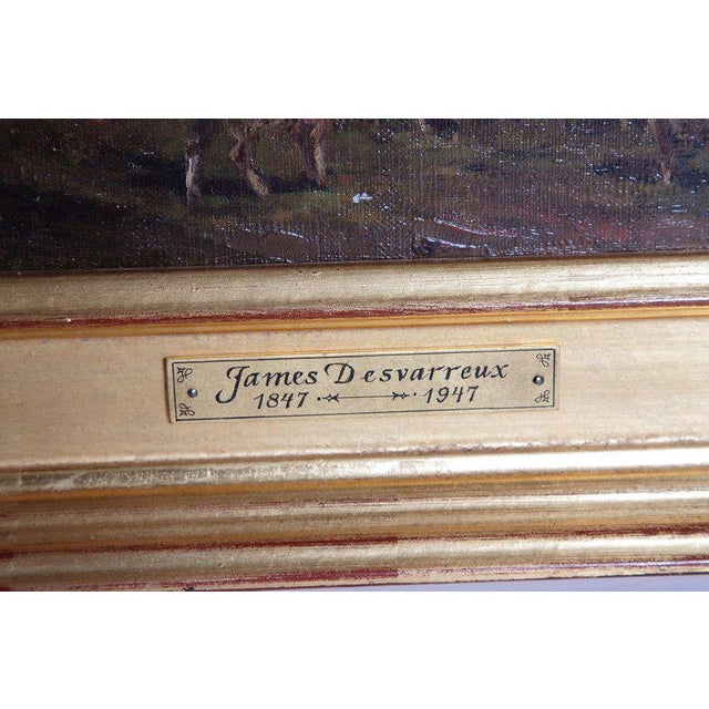 19th Century Oil Painting of Sheep Signed James Desvarreux For Sale - Image 9 of 13