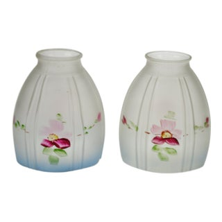 Victorian Hand Painted Frosted Glass Light Shades - a Pair For Sale