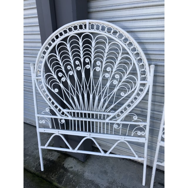 Boho Chic Vintage White Wicker Twin Headboards - a Pair For Sale - Image 3 of 8