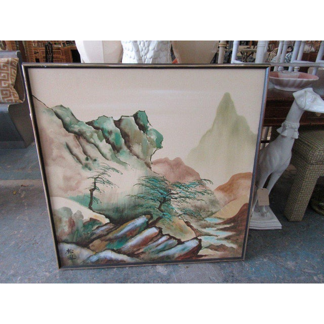 Japanese Landscape Watercolor Painting - Image 5 of 6