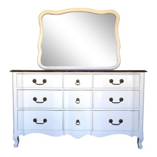 French Provincial White Dresser & Mirror For Sale