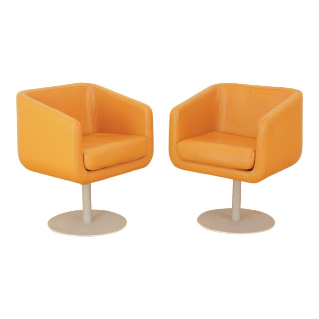 Late 20th Century Loewenstein Cube Swivel Chairs - a Pair For Sale