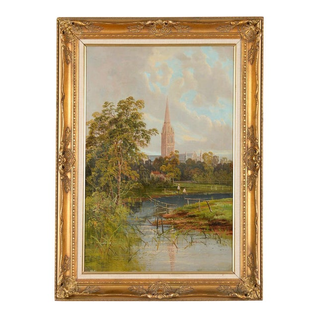 Antique German Gothic Town Oil Painting For Sale