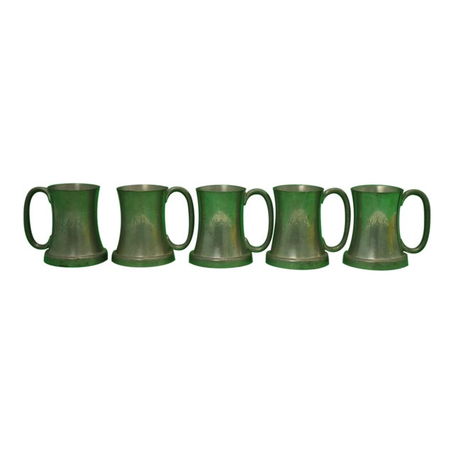 Set of 5 Abercrombie & Fitch Pewter English Tankards Engraved w.a.r. For Sale