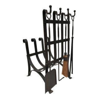 Early 20th Century Vintage Arts & Crafts Gothic Iron Log Holder and Fireplace Tools For Sale