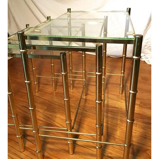 Hollywood Regency Faux Bamboo Brass & Glass Nesting Tables - S/3 - Image 4 of 6