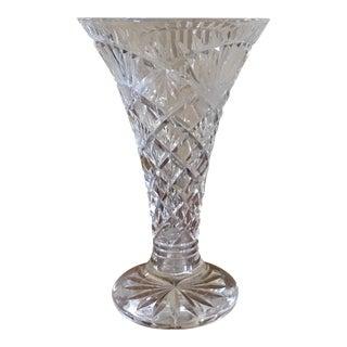 Fan Design Cut Crystal Vase